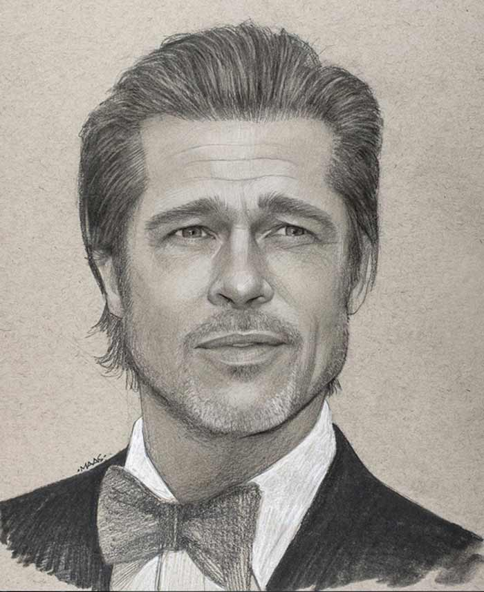 Realistic Portrait Brad Pitt