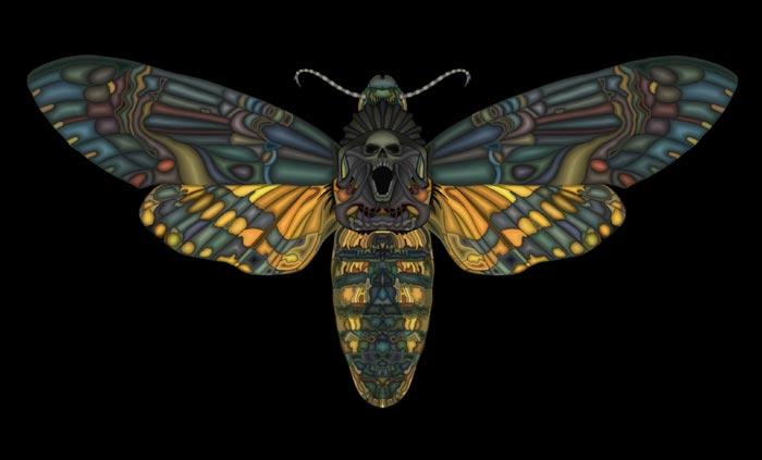 Death's head moth digital painting Artist Scott Elliott