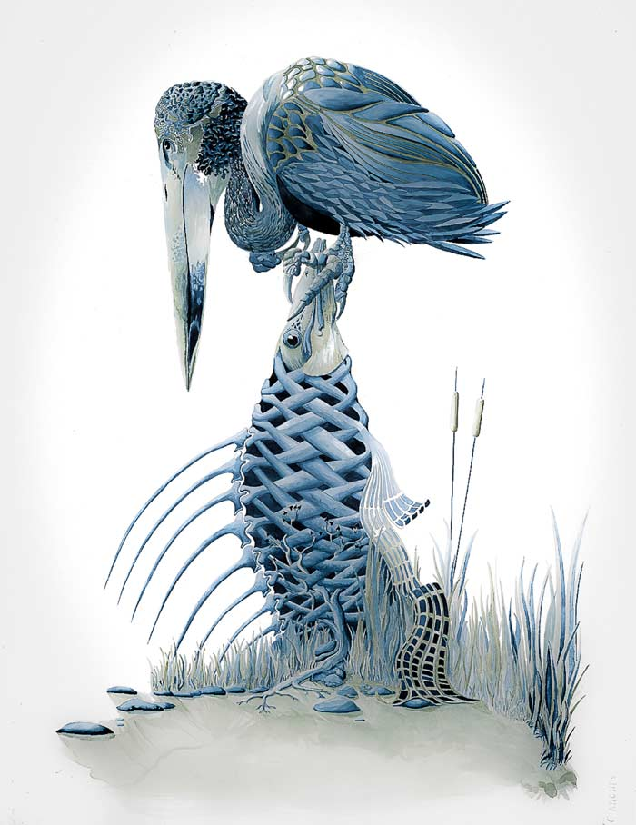 fish vulture digital art drawing Artist Scott Elliott