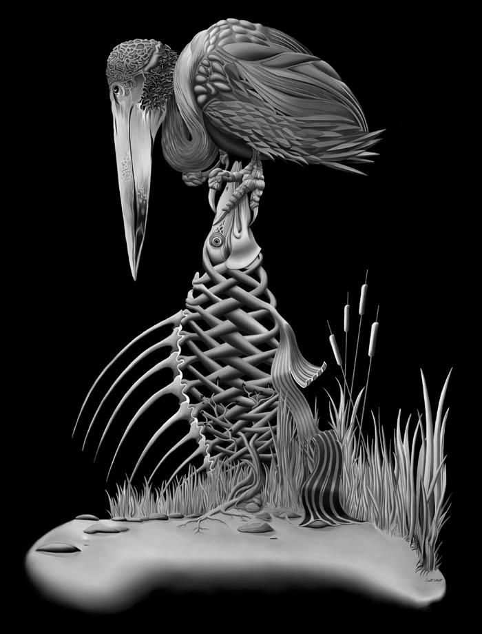 Fish vulture digital painting Artist Scott Elliott
