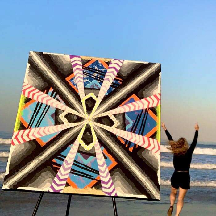 Artwork psychedelic abstract paintings with acrylic paint