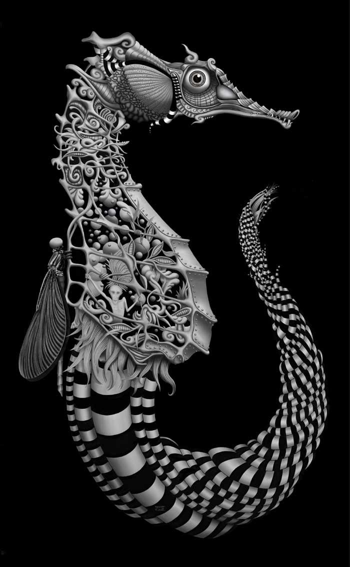 Seahorse digital painting Artist Scott Elliott