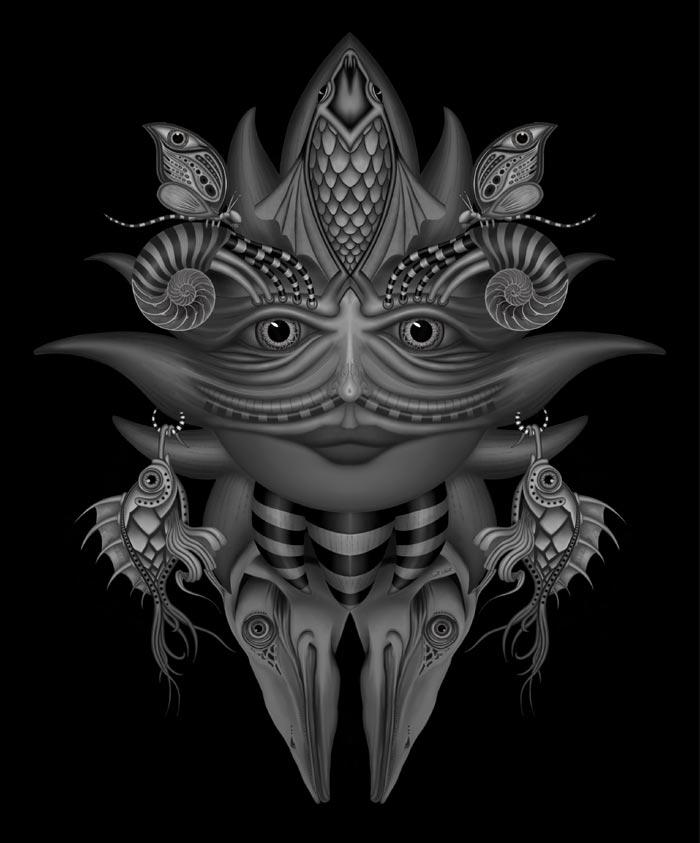 Sun face digital painting Artist Scott Elliott