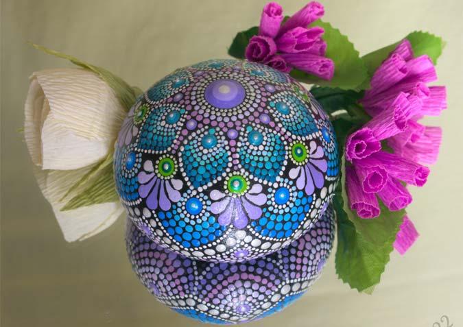 Hand-painted beautiful dot mandala designs on stones