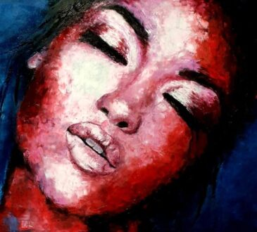 Artist Maria Portrait oil paintings with palette knife