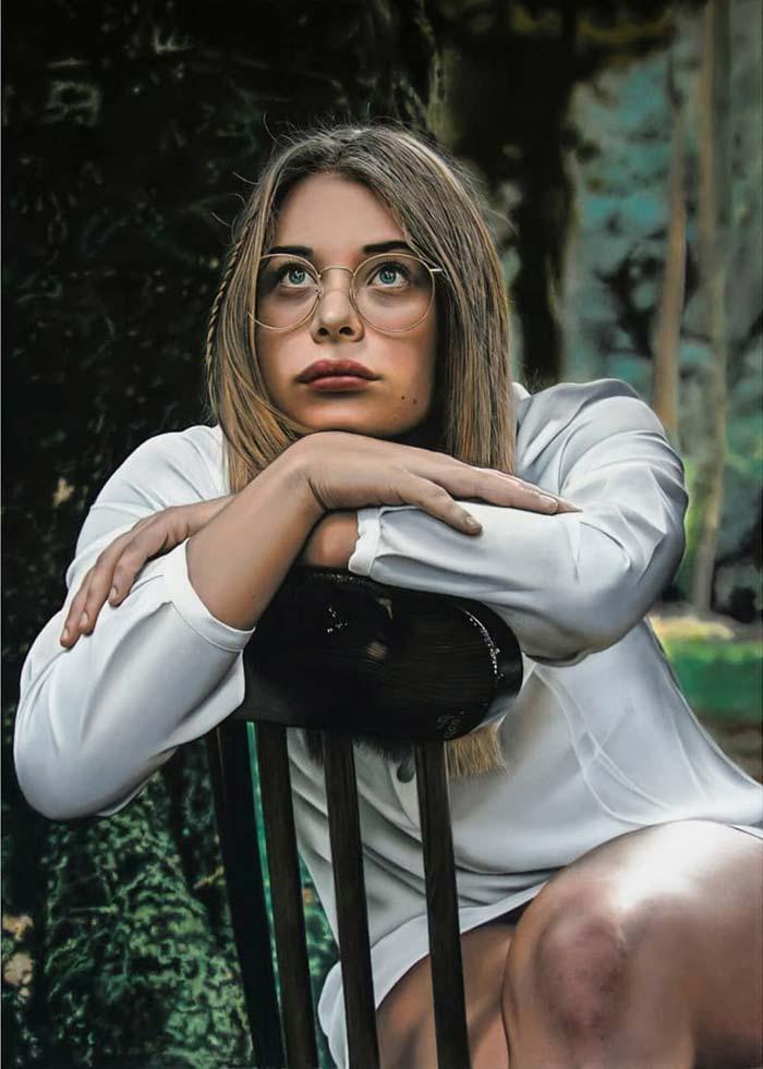 Woman thinking realistic painting artist Francesco Galmarini