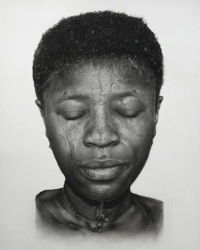 Photorealistic charcoal drawings by Solomon Iken