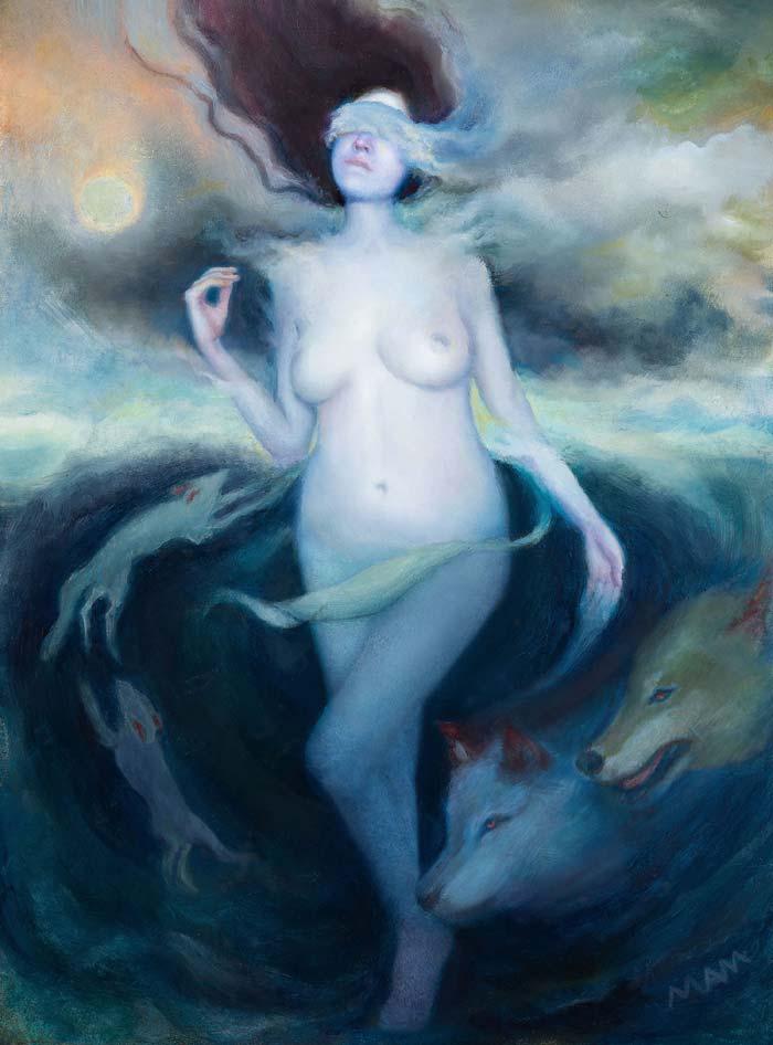Spirit walker nude canvas painting