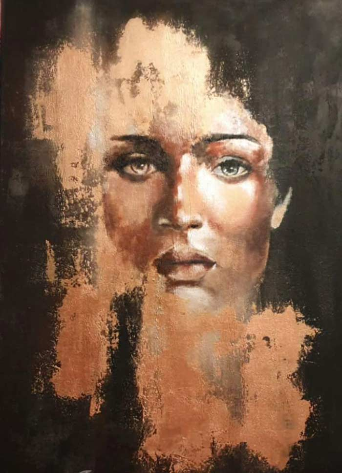 Abstract face art oil paintings with palette knife
