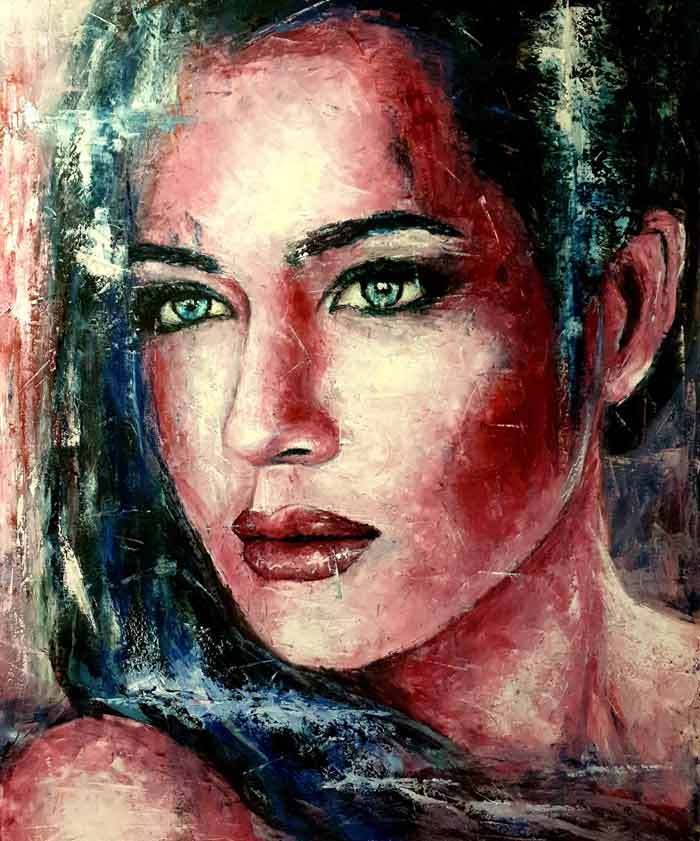 Portrait abstract art painting