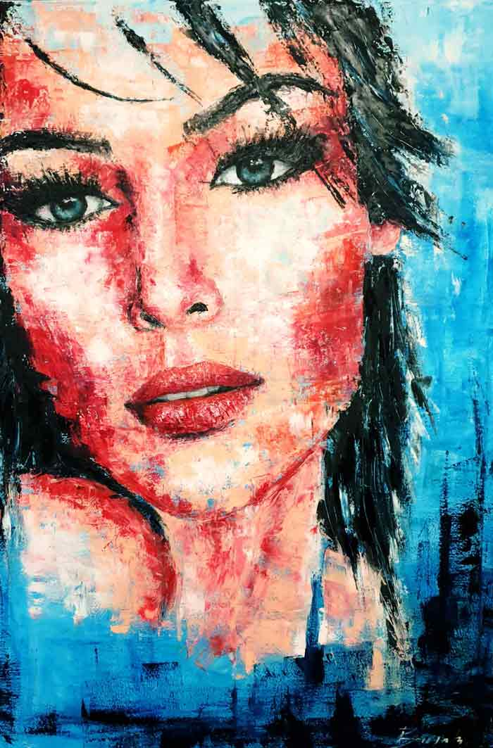 Portrait oil painting with palette knife