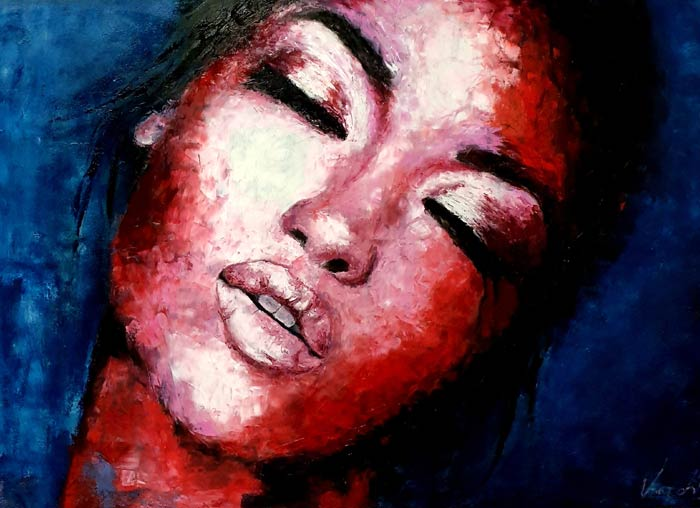 abstract face painting with palette knife