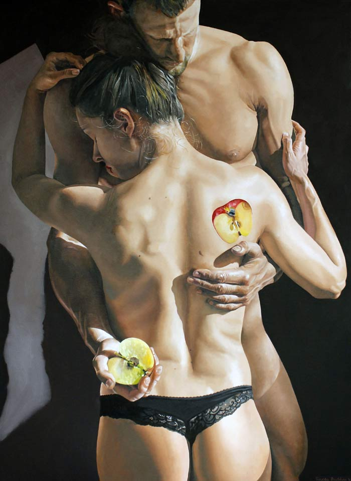 Hyper realism couple nude painting