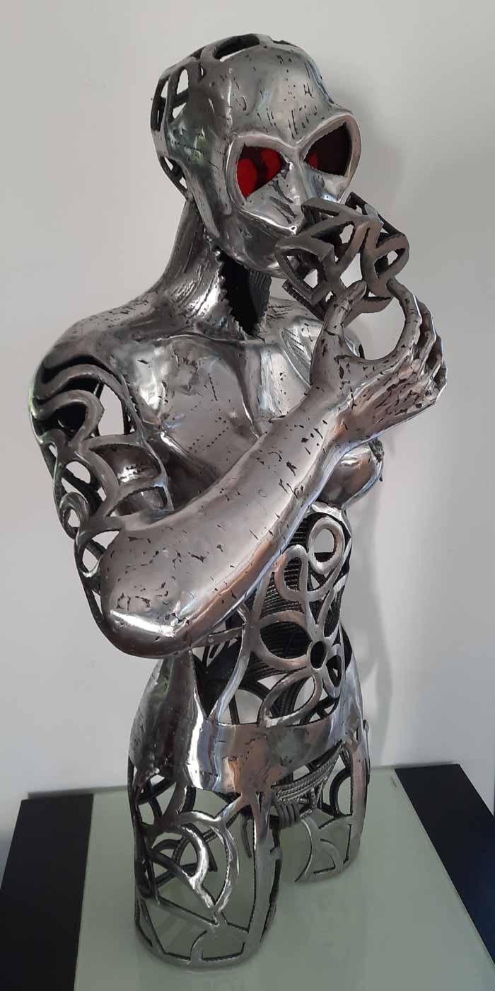Metal sculptures of the man figure