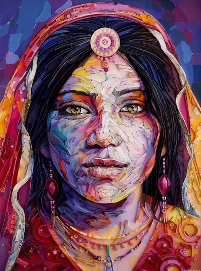 Quilled Paper Indian Portrait by Yulia Brodskaya