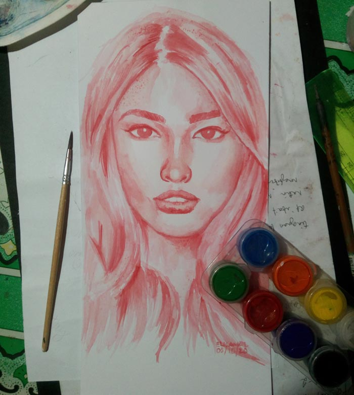 Colored pencil portrait by Jovelle Mae S. Elicanal