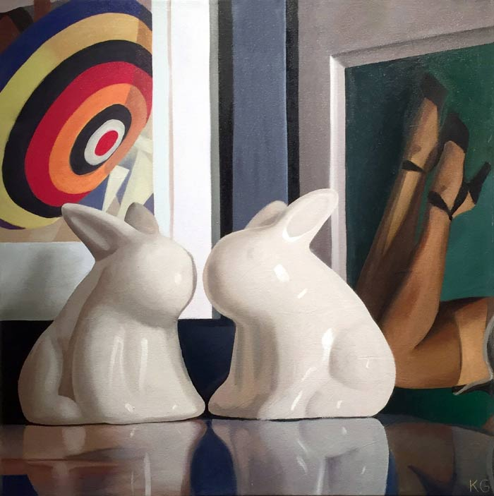 Bunnies oil on canvas by Kate Geiger