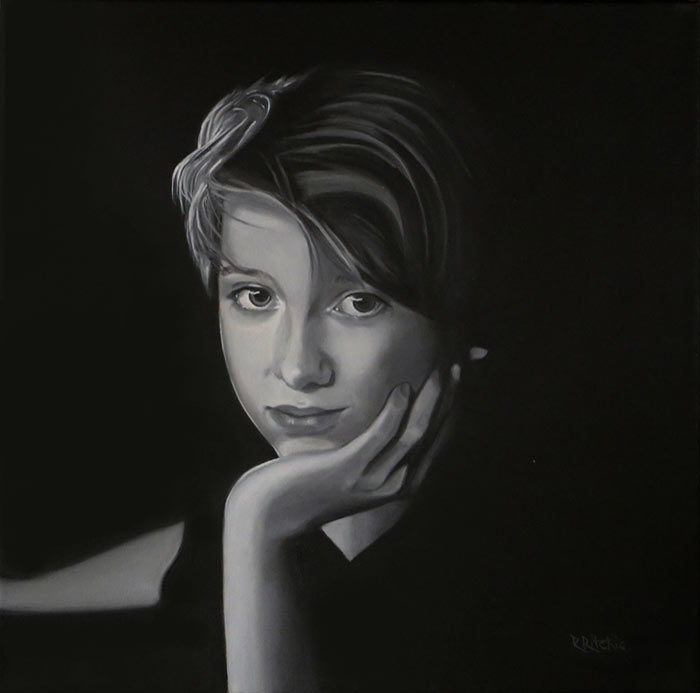 Realistic Portrait in oil paints by Rebecca Ritchie