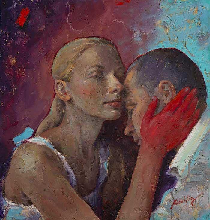 Romantic love painting by Tania Rivilis
