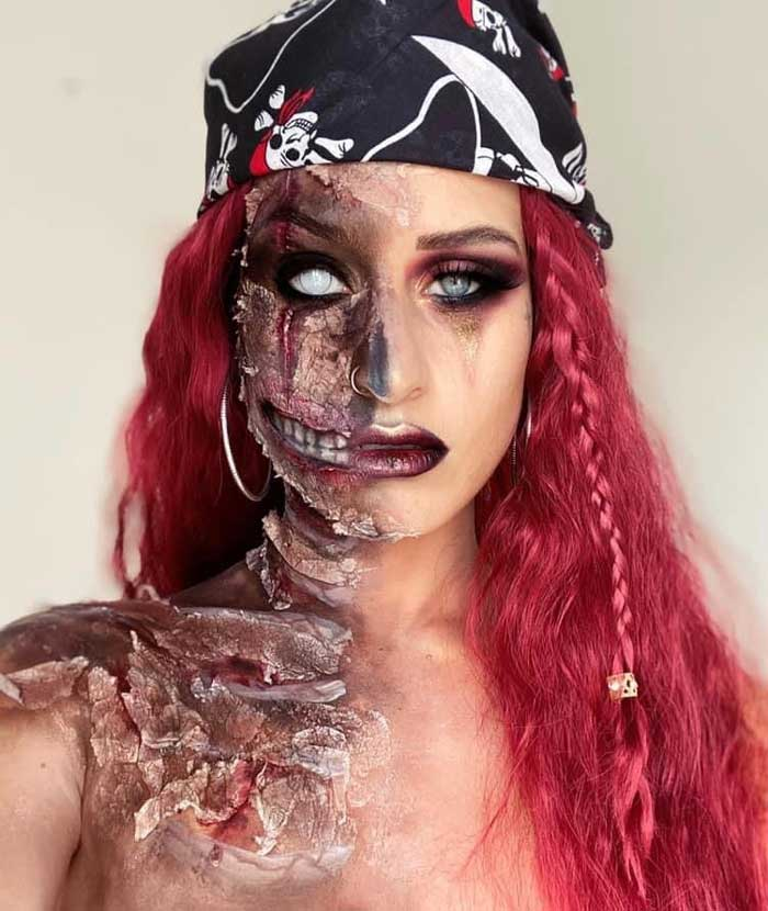 Cursed Pirate makeup tutorial by Emma Riley