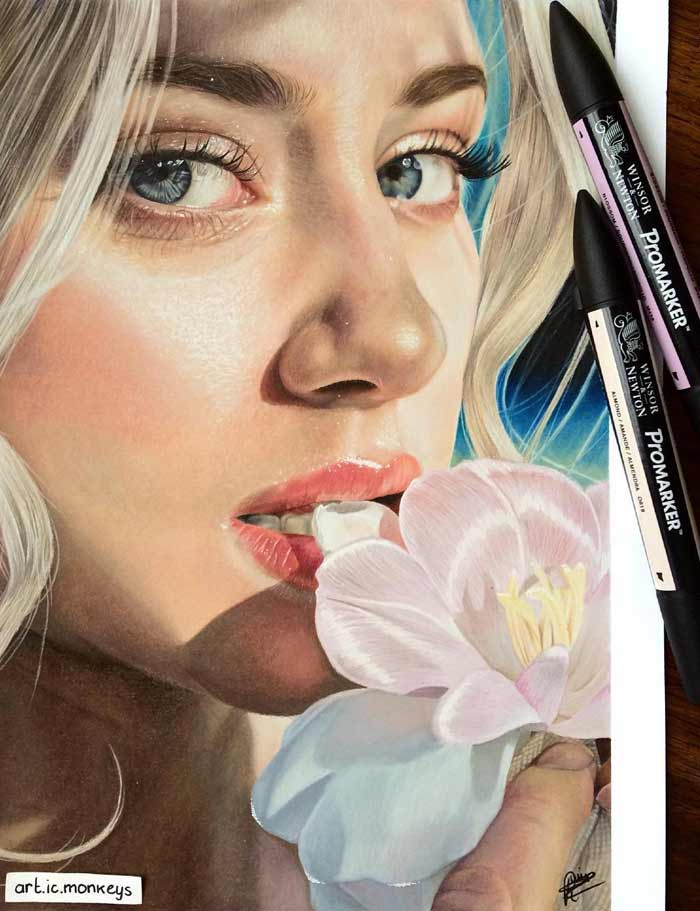 Realistic colored pencil drawings by artist Renske
