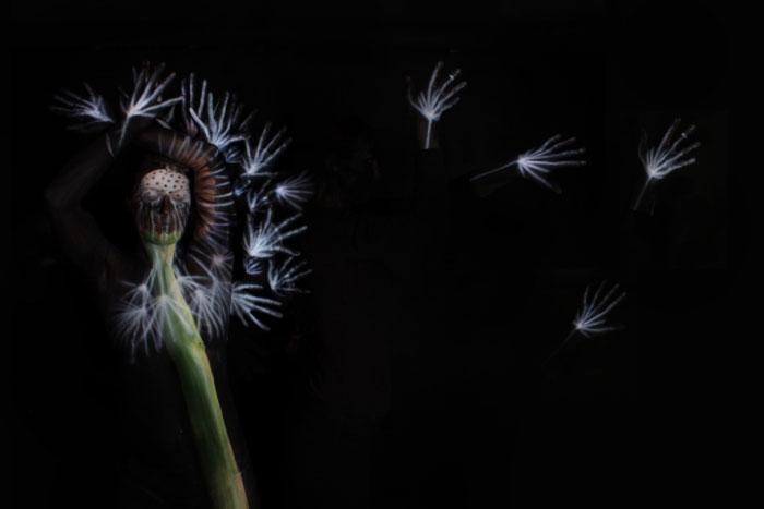 Dandelion body painting by Gesine Marwedel
