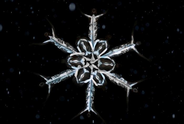 Snowflake body painting by Gesine Marwedel