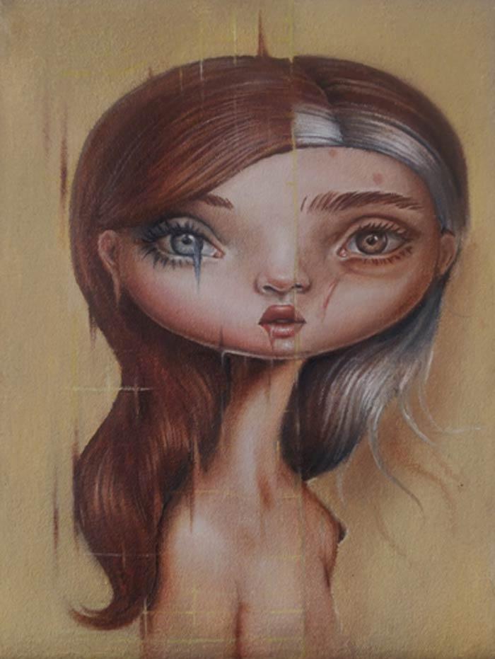 Glitch big eyed girl painting by Gokcen Yuksek