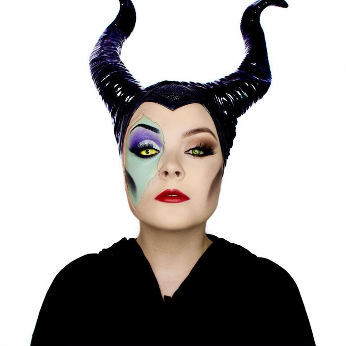 Makeup artist transforms herself into Maleficent