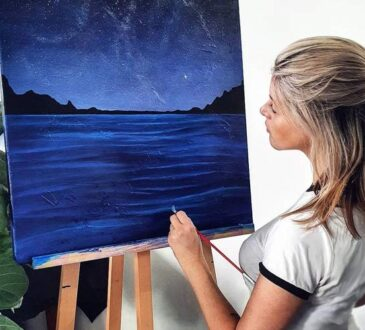 Shan McLoughlin Night ocean artwork canvas