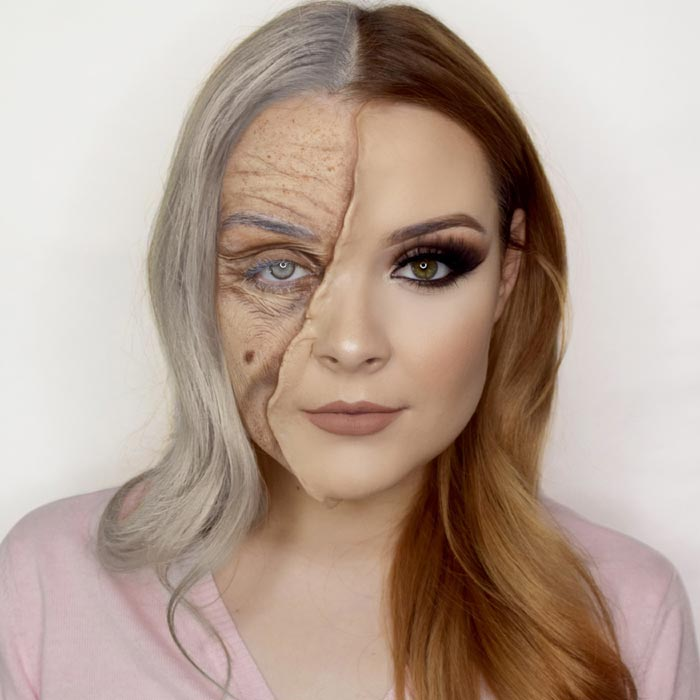 Makeup artist transforms herself into old person looks creepy