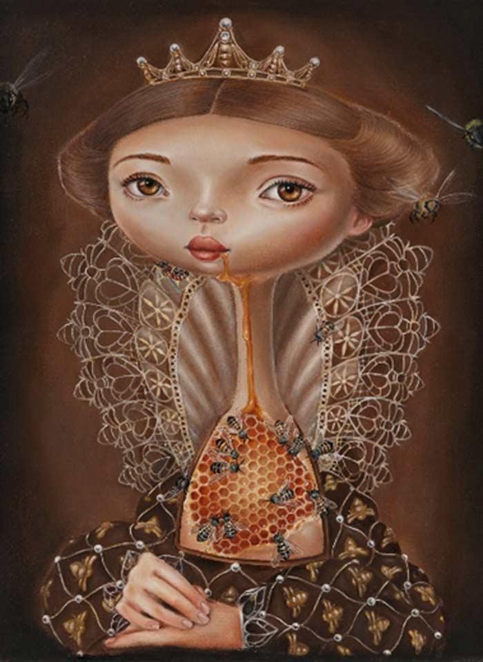Queen Bee Oil on Canvas by Gokcen Yuksek