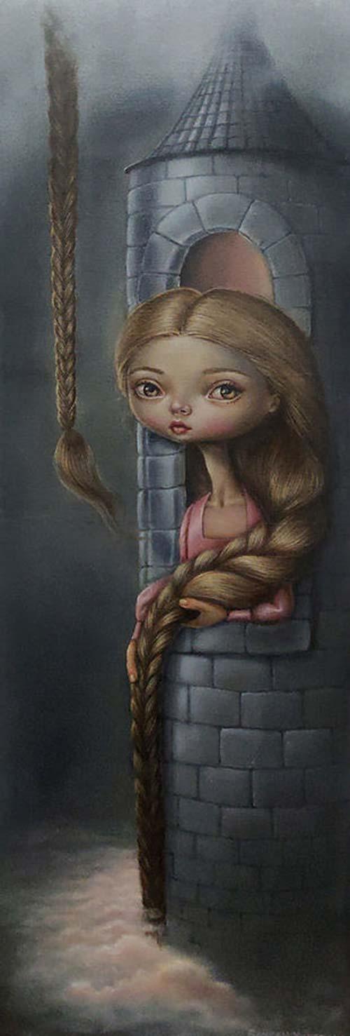 Rapunzel Babylon Oil on Canvas by Gokcen Yuksek