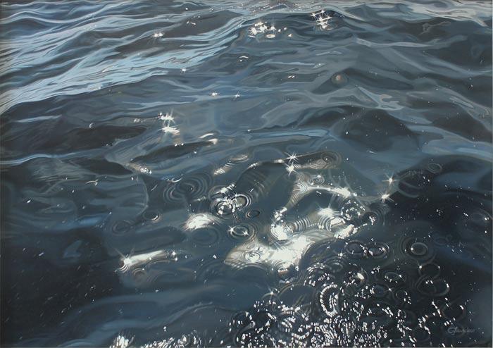 Carina Francioso's, photorealistic paintings of ocean waves