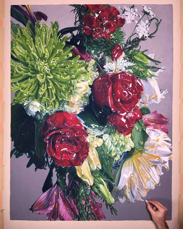 Pastel drawings hyper realistic of flowers dripping honey