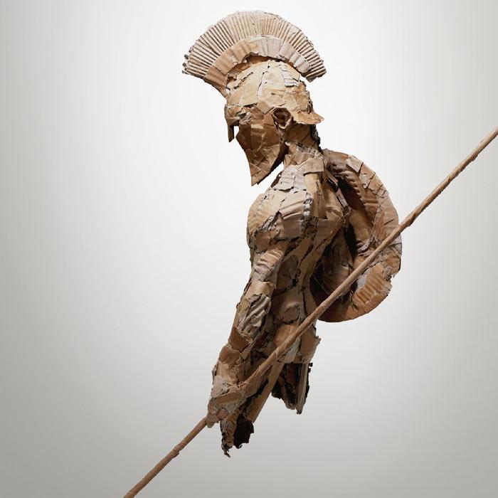 cardboard spartan sculpture in cardboard