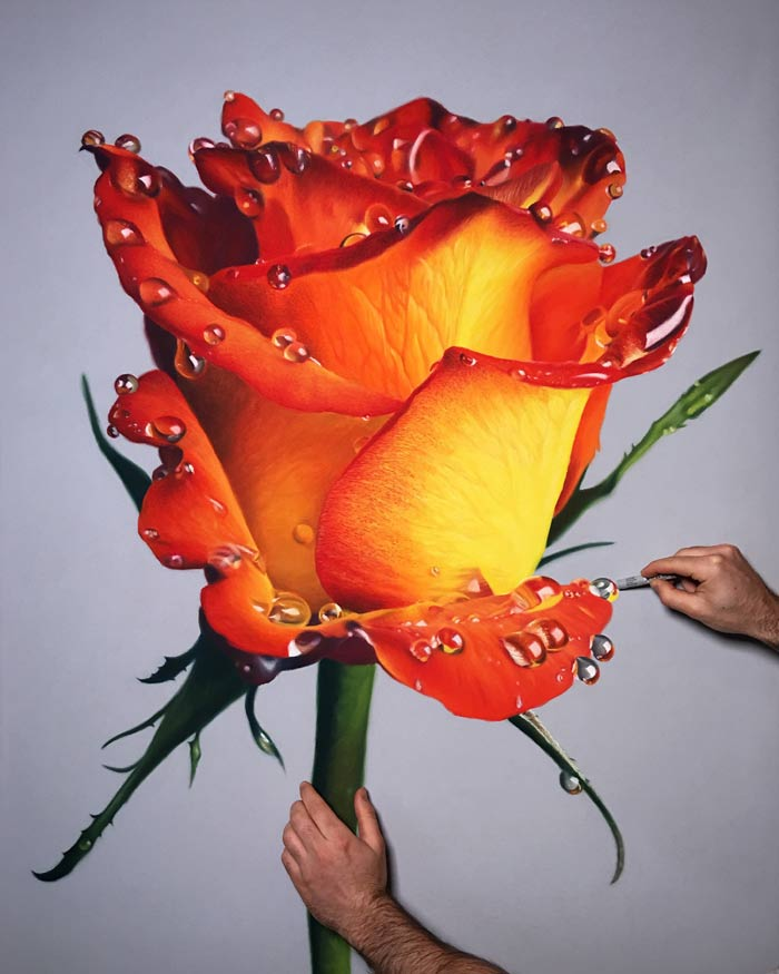 Realism art pastel drawings of flowers dripping honey