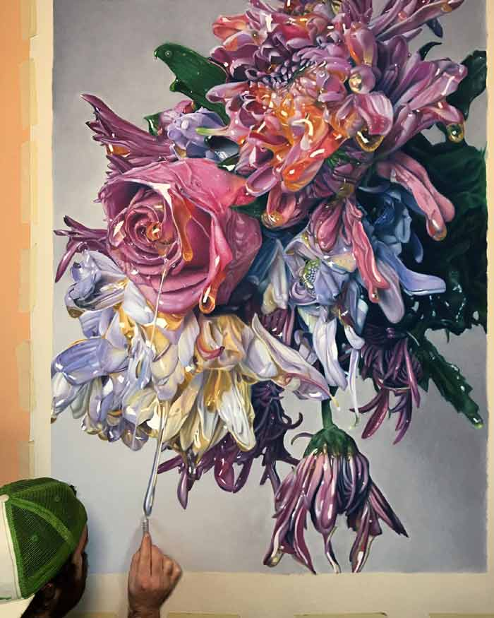 Pastel drawing of flowers dripping honey