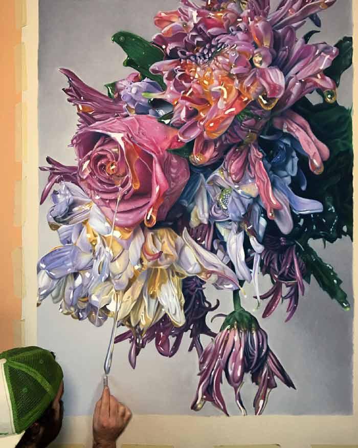 Pastel drawings hyperreal of flowers dripping honey