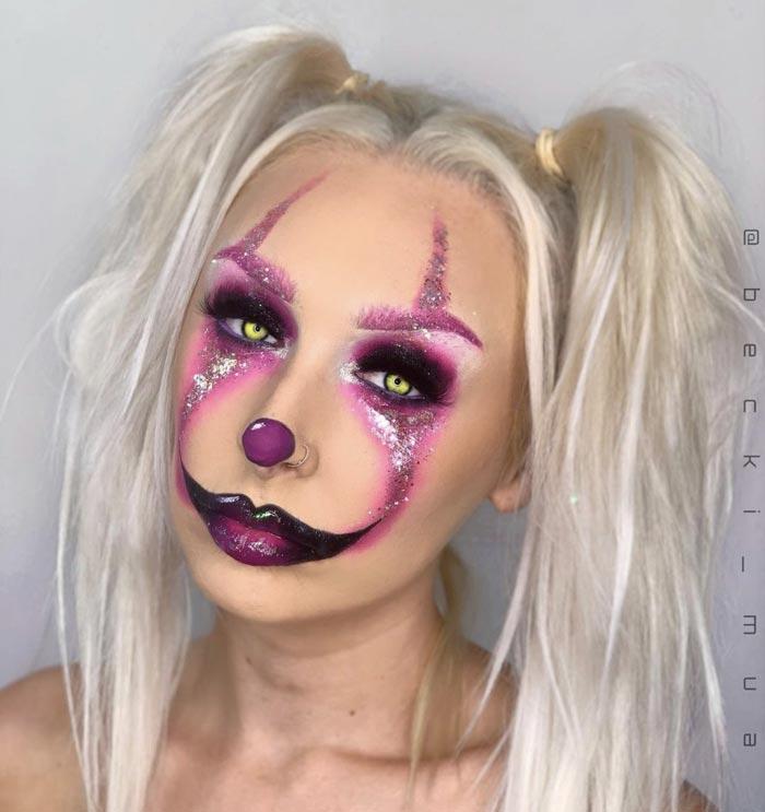 Makeup Artist Becki Mua Transforms Her Face Into Glam clown