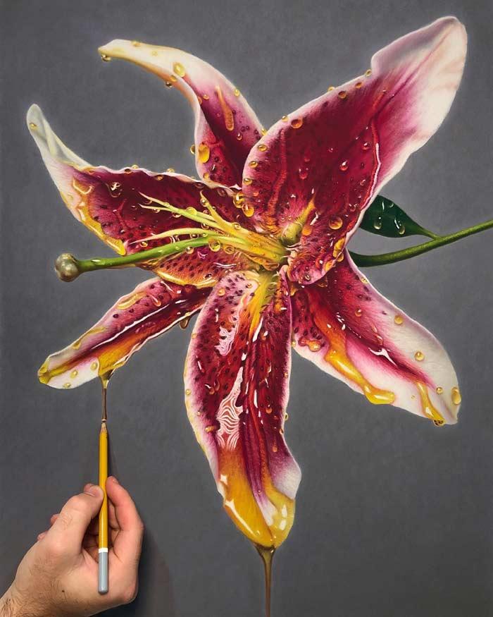 hyper realism pastel drawings of flowers dripping honey
