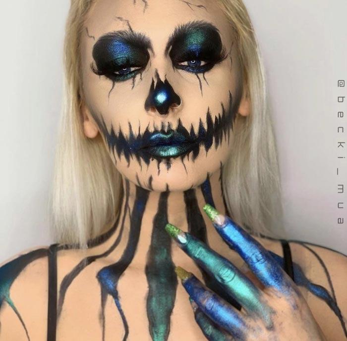 Makeup Artist Transforms Face Into Sexy skeleton