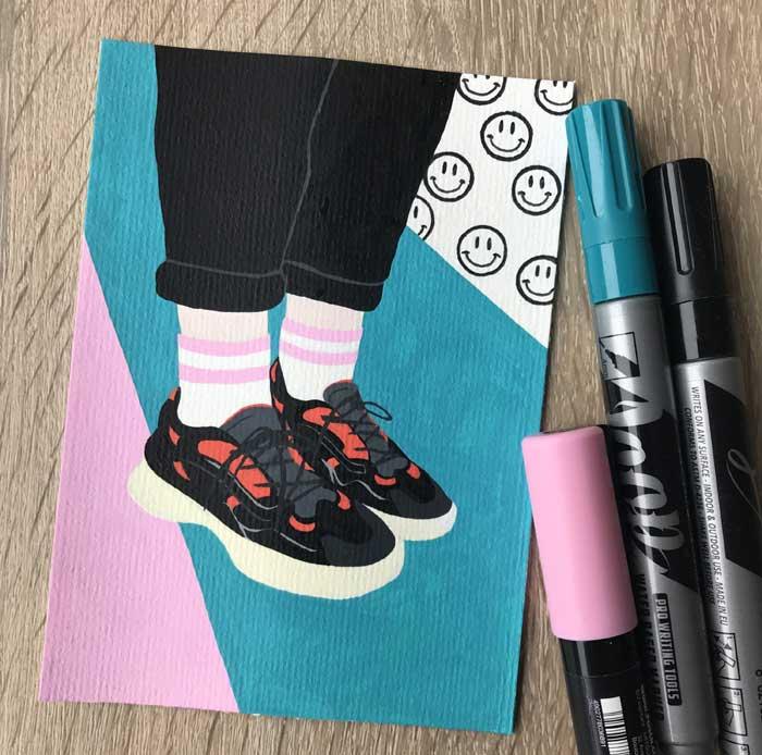Simple colored pencil drawings by artist Renske