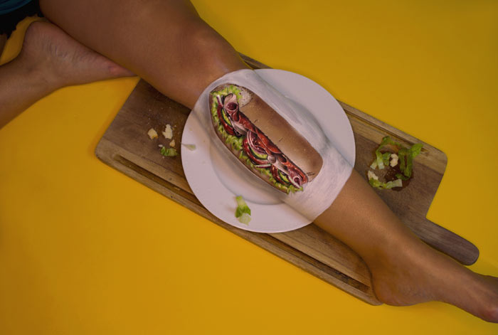 BMT Sandwich paint on leg by Sarah Murphy