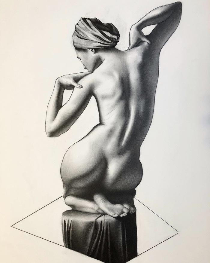 Nude art drawing by James Rocke