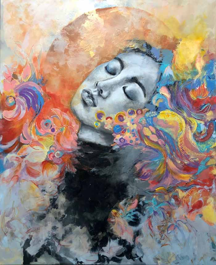 Abstract figure painting by Miri Baruch