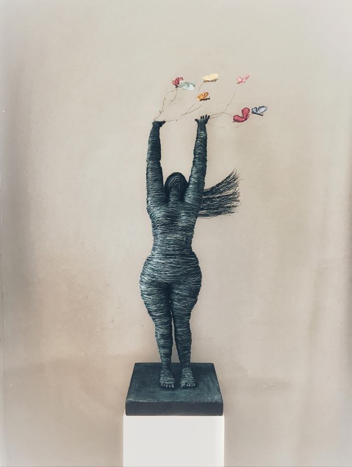 Butterflies wire sculpture by Annie Glass