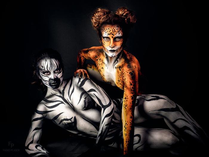 Cheetah and Zebra Bodypaint by Ana Chapovalov