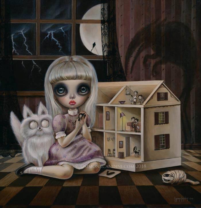 Big eye doll paitings by Simona Candini