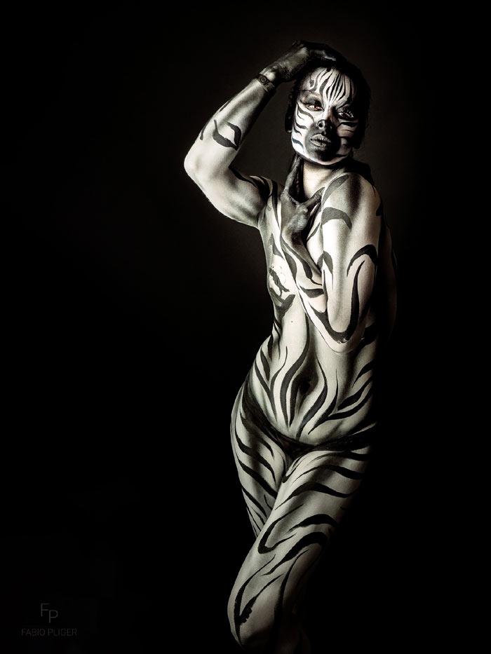 Dina Zebra body painting art by Ana Chapovalov